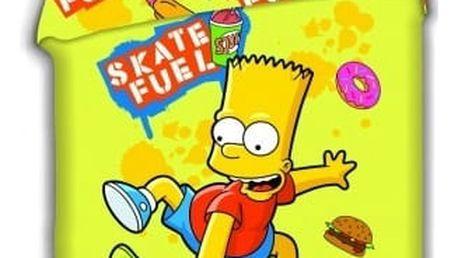 Jerry Fabrics Dětské povlečení BART NA SKATEBOARDU - žlutá 140x200, 70x90