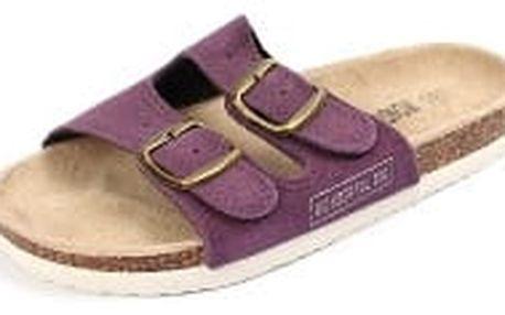Dámské pantofle z pravé kůže fialové