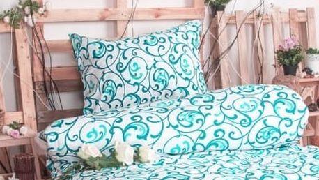 XPOSE ® Bavlněné povlečení na dvě lůžka ELIZABETH - bílo tyrkysová 140x200, 70x90