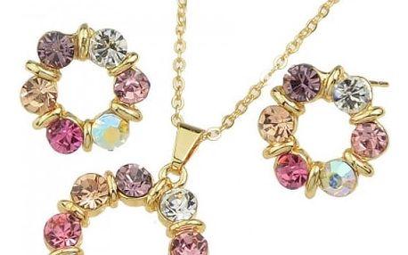 Elegantní set šperků s barevnými kameny