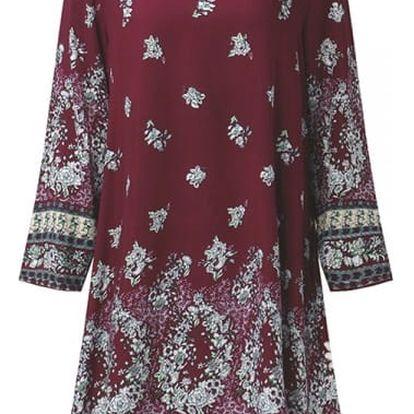 Dámské květinové šaty v boho stylu - Červená, velikost 7