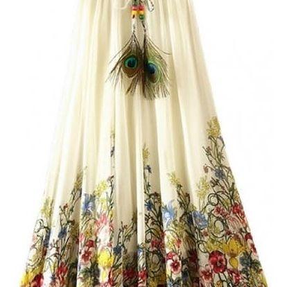 Rozmanitá sukně s ozdobným pavím pírkem na léto - dlouhá -14