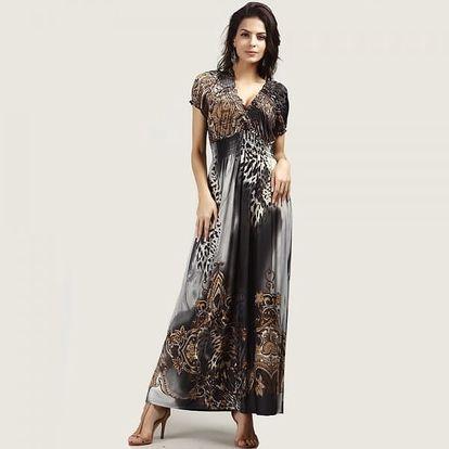 Bohémské dámské šaty s motivem leoparda - šedá, velikost č. 5