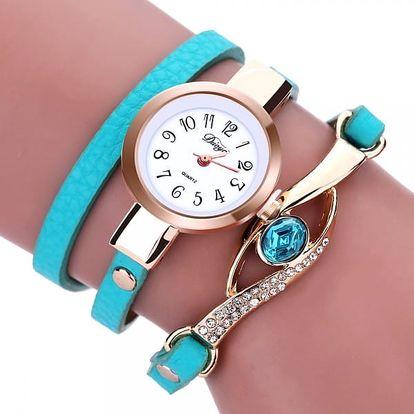Dámské vícevrstvé hodinky s ozdobnými kamínky - světle modré