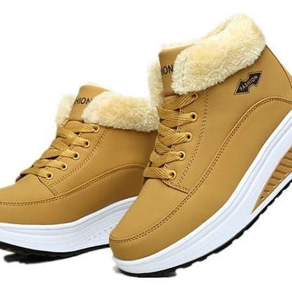 Barevné zimní boty s vyšší podrážkou