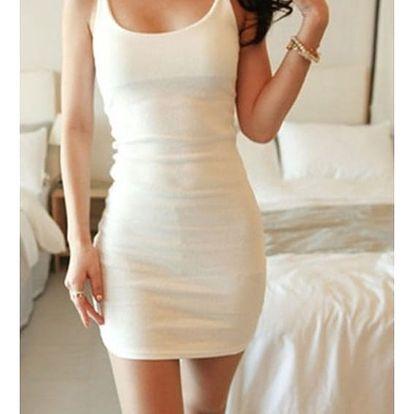 Dámské šaty přilnavé - špagetová ramínka - bílé, vel. 3