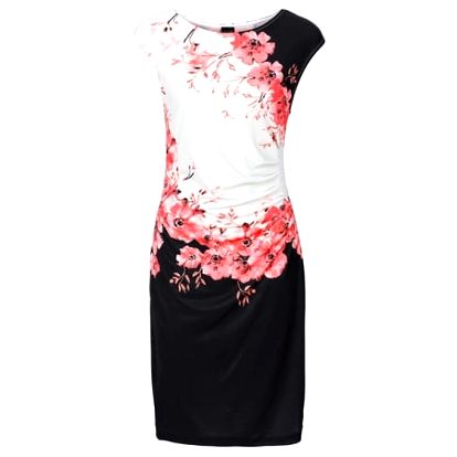 Elegantní dámské šaty s květinami - červené, velikost č. 6