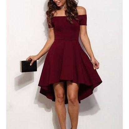 Dámské společenské šaty bez ramínek - červená, velikost 2