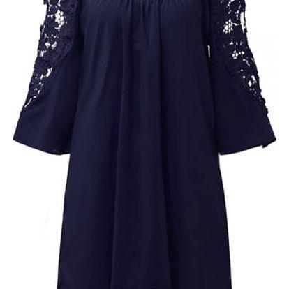 Luxusní šaty s odhalenými rukávy a krajkou -Modrá, velikost č. 5