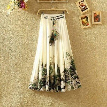 Rozmanitá sukně s ozdobným pavím pírkem na léto - dlouhá - 5