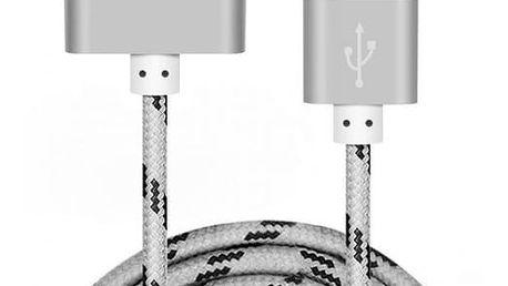 Rychlonabíjecí kabel pro iPhone 4/4s - pletený kabel, stříbrná (50 cm)