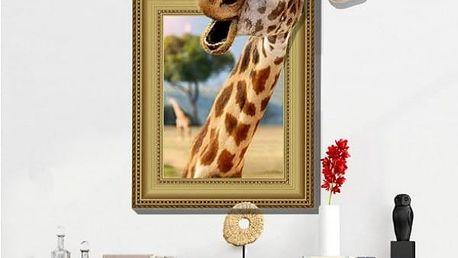 3D samolepka na zeď se žirafou