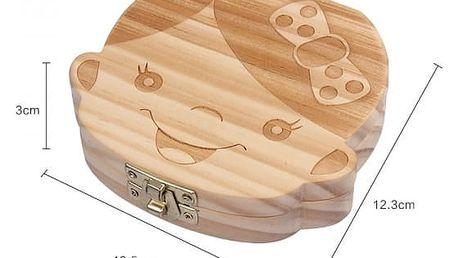 Dřevěná krabička na dětské zoubky - holka - dodání do 2 dnů
