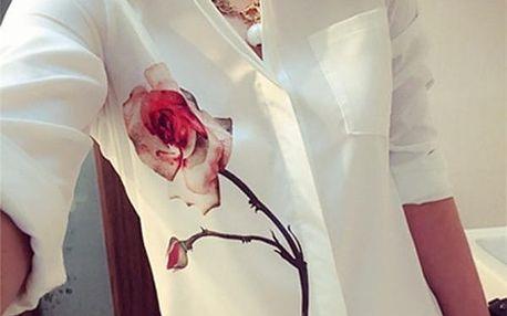 Dámská bílá košile s růží - různé velikosti