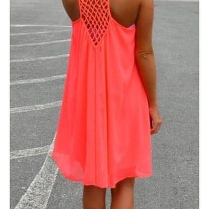 Dámské šaty plážové v pestrých barvách - oranžové, vel. 6