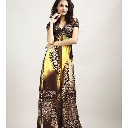 Bohémské dámské šaty s motivem leoparda - Žlutá - velikost č. 6