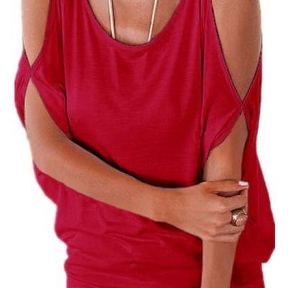 Dámské plus size tričko s otvory na ramenou - červená, velikost 2