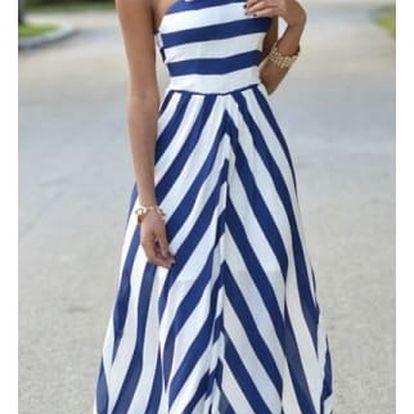 Dlouhé pruhované šaty s odhalenými rameny - Velikost č. 2 - dodání do 2 dnů