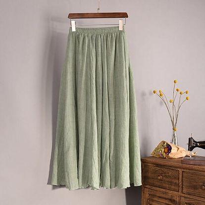 Vzdušná lněná sukně ve všech barvách - Olivová