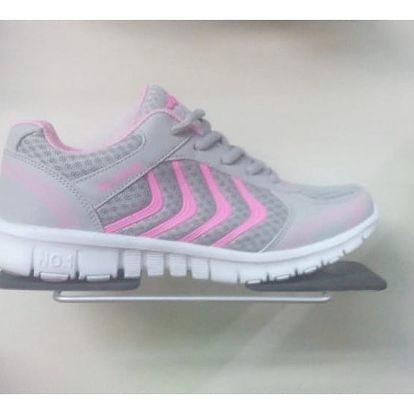 Dámské sportovní botasky - Světle šedá s růžovou - 25,1 cm (vel. 39)