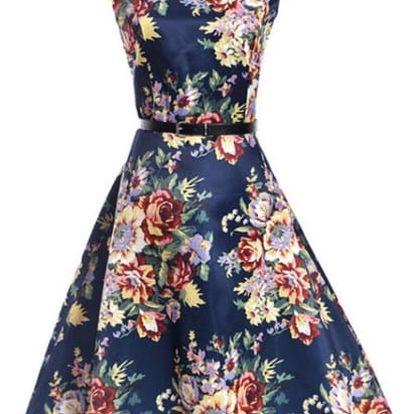Dámské šaty s nádechem retra a rozmanitými vzory - vzor 7, velikost č. 6