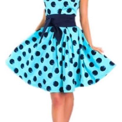 Retro puntíkované šaty pro dámy - Světle modrá-vel. 2