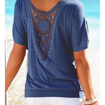 Dámské tričko s krajkovými květy na zádech - modrá, velikost 2