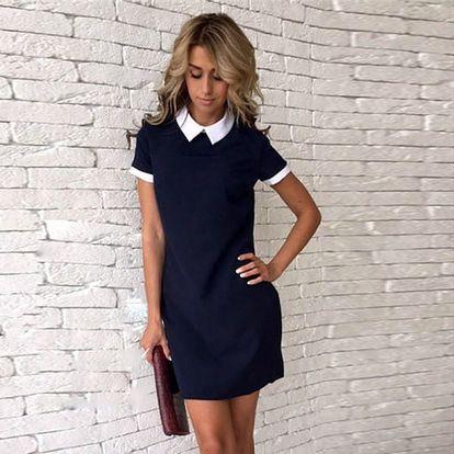 Elegantní dámské šaty s límečkem - modrá, velikost č. 4