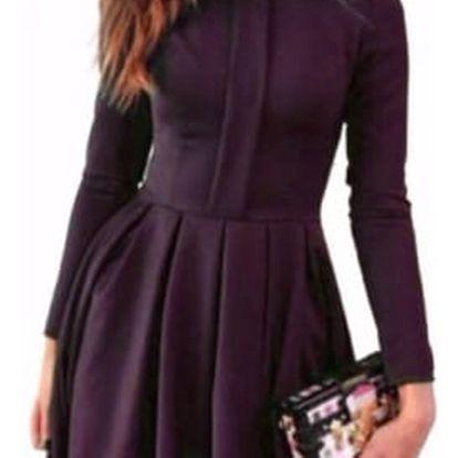 Elegantní šaty s dlouhým rukávem a krajkou - fialová, velikost č. 4