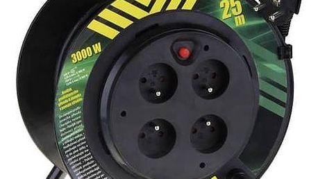 Kabel prodlužovací na bubnu EMOS 4x zásuvka, 25m, pevný střed černý