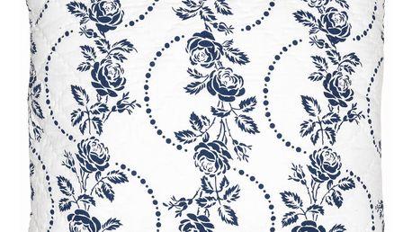 GREEN GATE Prošívaný povlak na polštář Fleur blue 50x50, modrá barva, textil