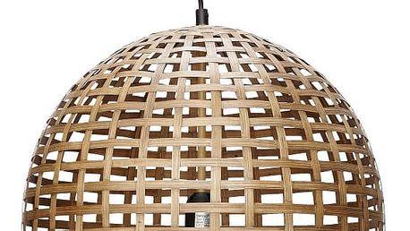 Hübsch Závěsná bambusová lampa Oblong Natural, béžová barva, hnědá barva, dřevo, proutí