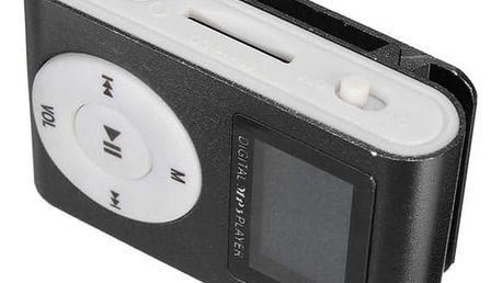 MP3 přehrávač pro paměťové karty s klipem - černý