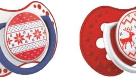 LOVI Šidítko silikonové symetrické dynamické Winter (0-3m) 2 ks - červený