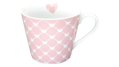Krasilnikoff Hrneček Hearts pink diagonal, růžová barva, porcelán