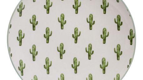 Bloomingville Dezertní keramický talíř Jade, zelená barva, krémová barva, keramika