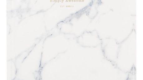 Woouf! Notes White Marble A5, šedá barva, bílá barva, papír