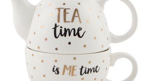 sass & belle Čajová konvička s hrnečkem Tea time, bílá barva, zlatá barva, keramika
