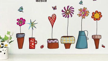 Samolepky na zeď ve formě květináčků