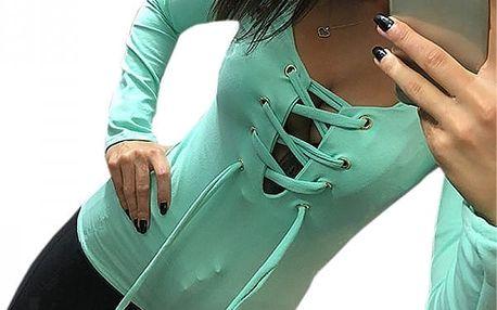 Dámské triko s dlouhým rukávem a šněrováním - Zelená, velikost 4
