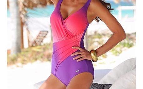 Jednodílné plavky v pestrobarevném provedení - fialová, velikost 5