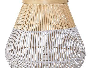 Bloomingville Stojací lampa Bamboo, béžová barva, bílá barva, proutí