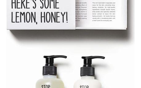 STOP THE WATER WHILE USING ME! Sada mýdla a krému na ruce Lemon Honey, černá barva, bílá barva, plast, papír