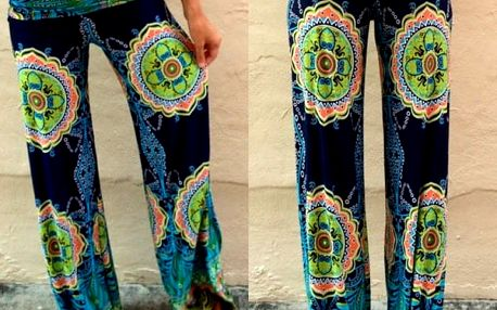 Dámské kalhoty v palazzo stylu se zajímavým motivem - vel. 1 (S)