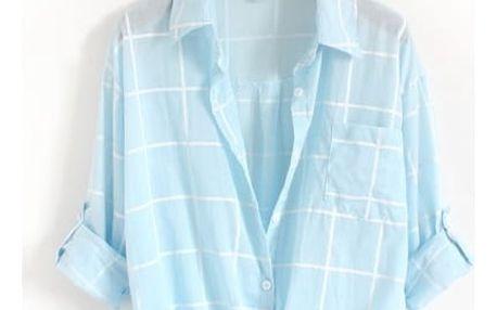 Vzdušná kostkovaná oversize košile-Nebeská modrá