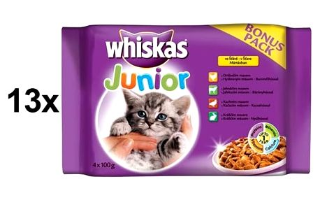 Whiskas JUNIOR ve šťávě BONUS 13 x (4 x 100g)