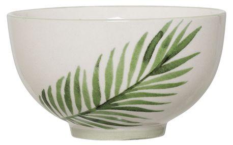 Bloomingville Keramická miska Jade, zelená barva, krémová barva, keramika