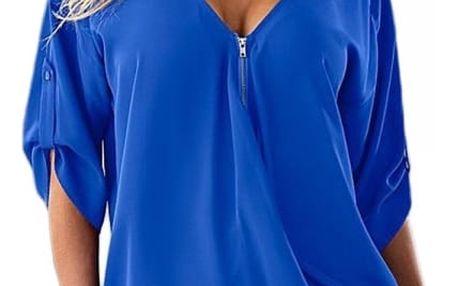 Stylový top se zipem pro ženy - Modrá - velikost 6