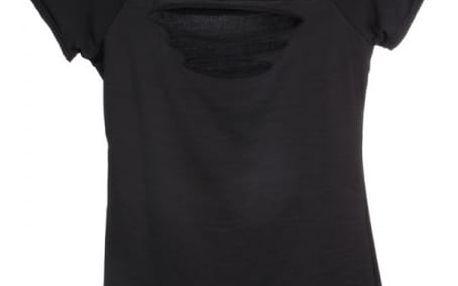Dámské potrhané tričko v černé barvě - vel. 6