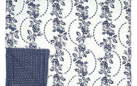 GREEN GATE Prošívaný přehoz Fleur blue 180x230, modrá barva, textil